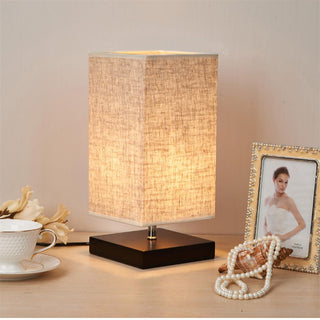 Modern Table Lamp LED Light Linen Cloth Shade Bedroom - Deals Blast