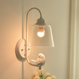 White Bird Glass Wall light For Painted Iron Bedroom