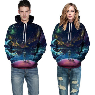3D printed Colorful Clouds Sky dog person Hoodies Sweatshirts for Men Women: Deals Blast