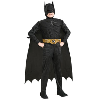 Kids Deluxe Muscle Dark Knight Batman Child Halloween Party Fancy Dress Boys Superhero Costume: Deals Blast