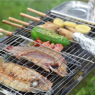 New Barbecue Meshes Camping Grill Rack BBQ Clip Folder Grill Roast Folder Basket Tool Meat Fish Vegetable BBQ Tool Wooden Handle