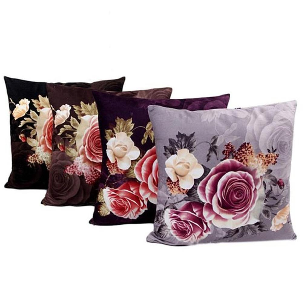 Flower Pillow Cushion Case Printing  Bed Open type zipper