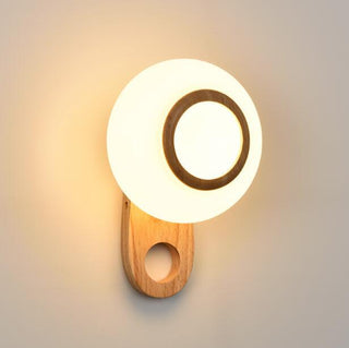 Modern Simple Wood Wall Lamp For Creative Circular Bedroom - Deals Blast