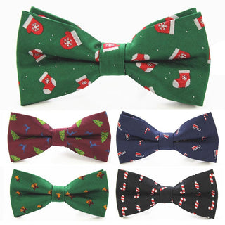 Christmas Bow Tie Men's Green Black Bow