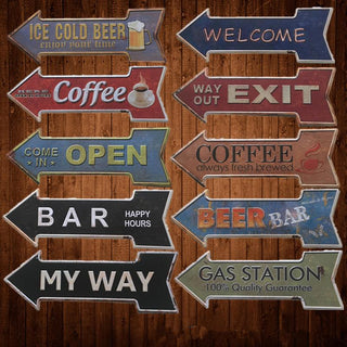 Retro Metal Tin Signs Arrow Shaped Painting Bar Coffee Beer Bar Gas Plate Wall Decor Exit Open signboard hanging Welcome Sign: Deals Blast