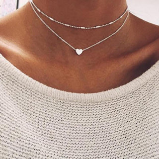 Double Chain Layered Necklace Silver Gold Jewelry Love Heart Choker
