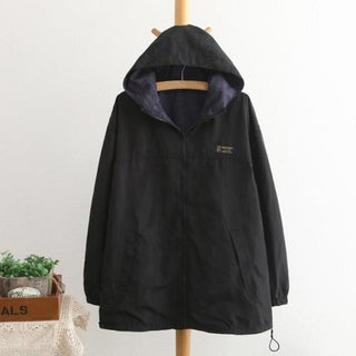 Women Jacket Coat Hooded Two Side Wear Outwear