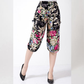 Cotton Loose And Casual Female Flower Pants Elastic Waist Pants