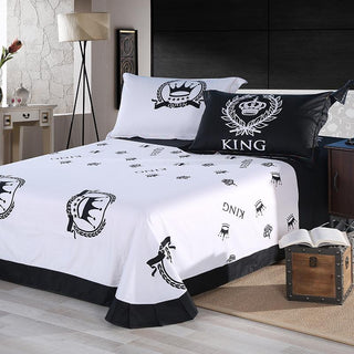 Royal Bedding Set Double Single Queen King Size 100% Cotton Black&White Series