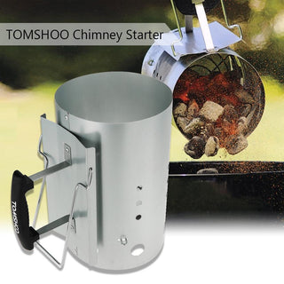Charcoal Chimney Starter BBQ Barbecue Smoker Grill Fire Handle Camp BBQ Chimney Stove Charcoal Lighter Coal Starter: Deals Blast