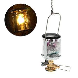 Mini Camping Light Gas Lantern Tent Gas Lamp with 2 Lantern Mantles Outdoor Compact Gas Light Hanging Lamp for Travel