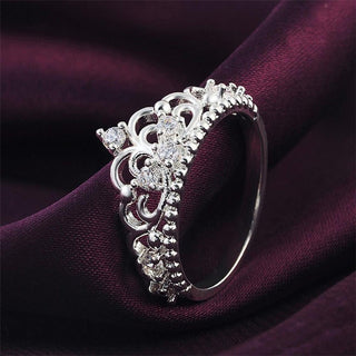Women Fashion Princess Queen Crown Silver Plated Band Ring