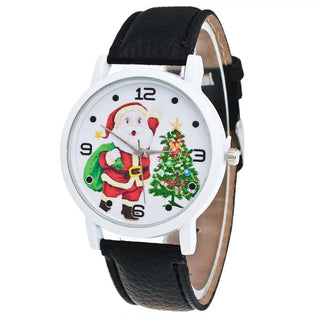Women Watches Christmas Elderly Pattern Leather Band Watch