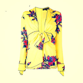 Yellow Floral Autumn Bowknot Pullover Tops Women Blouse