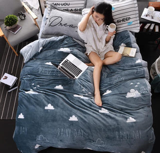 Gray Black and White thick fleece Bedding Set Twin Queen King Size for Kids Adults Winter Warm Duvet Cover Set Bed Sheet Set: Deals Blast