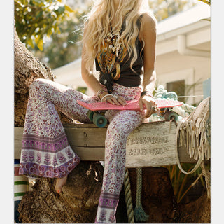 Deals Blast: Newest Fashion Vtg Hippie BOHO Tie Dye Gypsy Bell Bottom Loose Wide Leg Flared Long Pants for women Ladies trousers Deals Blast