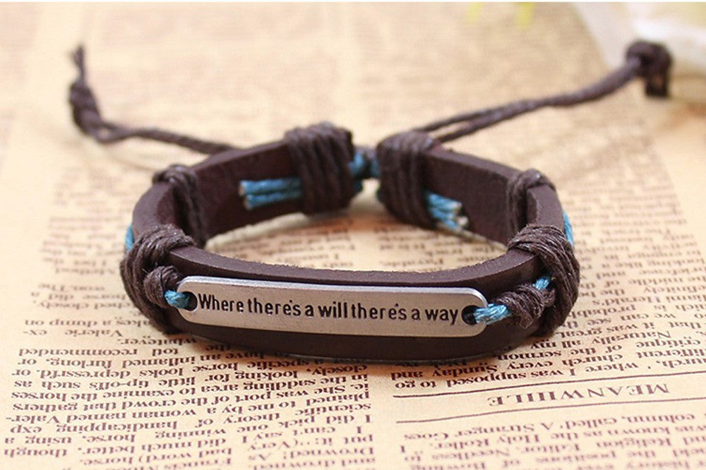 "Deals Blast: 2016 New Brand Fashion English Word ""Where there is a will there is a way"" Leather Bracelets & Bangles for Women Men Jewelry Deals Blast"