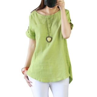 Deals Blast: New Summer Casual Women Shirts Plus Size Woman Clothes Short Sleeve Loose Cotton Linen Women Tops Female Blouse Deals Blast