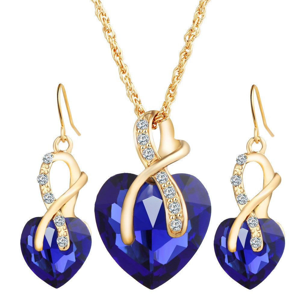17KM Gold Color Love Crystal Heart Jewelry Sets For Women Necklace Earrings Jewellery Set Bridal Wedding Accessories - Deals Blast