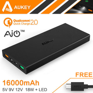 Aukey 16000mAh Quick Charge 2.0 Portable External Battery Pack 5V 9V 12V USB Dual Power Bank Support Quick Charge Input/Output: Deals Blast