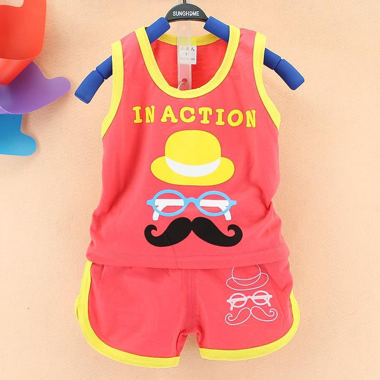 2016 summer children boys clothes cotton cartoon Kids Clothes girls clothes 0-3 year children clothing set vest Shorts 2pcs suit Deals Blast