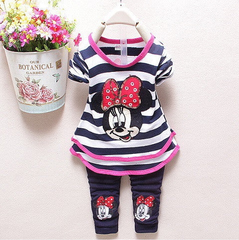 2015 new baby girls Clothing Sets Fashion spring/Autumn 2pcs Suit Stripe cartoon Baby Girls cute Clothing Sets Shirt +Pants - Deals Blast