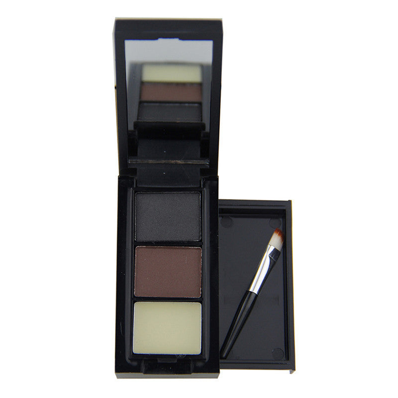 3 Color Hot Sale Professional Eye Shadow Eye Brow Makeup Eyebrow Powder + Eyebrow Wax Palette + Brush Deals Blast