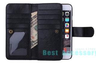 For iPhone 6 Case Magnetic 2 in 1 Detachable Leather 9 Cards Slots Wallet Case For iPhone 6S Case 5 5S 6 Plus 6S Plus 7 Plus Deals Blast