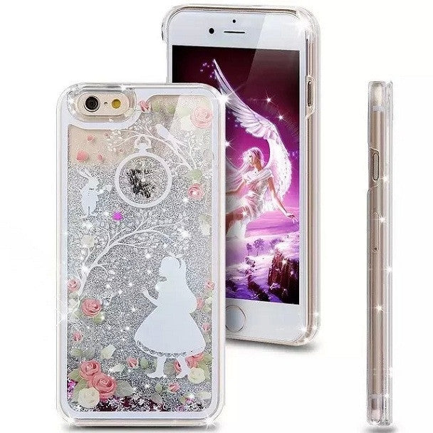 2016 New Hot Girl Cat Cartoon Crystal Clear Dynamic Liquid Glitter Quicksand Star Case phone Back Cover For iphone 5s/6 6s/6Plus Deals Blast