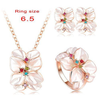 Best Seller Jewelry Set Rose Gold Plate Austrian Crystal Enamel Earring/Necklace/Ring Flower Set Choose Size of Ring - Deals Blast