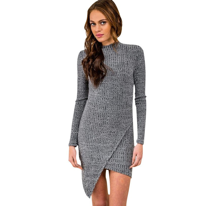 2016 Autumn New Casual Vintage Sexy Bodycon Bandage Slim Irregular Turtleneck Long Sleeve Women Mini Short Knitted Sweater Dress - Deals Blast