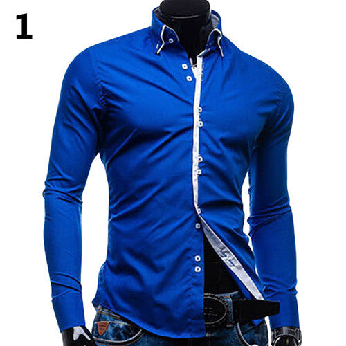 2016 New arrival! Men's Fashion Luxury Slim Fit Long Sleeve Casual Dress Shirts Blouse Tops Tee H8Q78Q Deals Blast