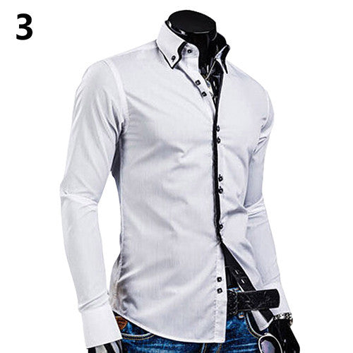 2016 New arrival! Men's Fashion Luxury Slim Fit Long Sleeve Casual Dress Shirts Blouse Tops Tee H8Q78Q - Deals Blast