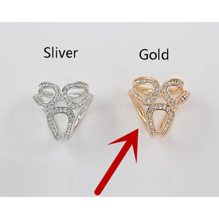 Newst Gold Silver Flowers Scarf Buckle Wedding Brooch Christmas Pins Crystal Holder Silk Scarf Jewelry - Deals Blast
