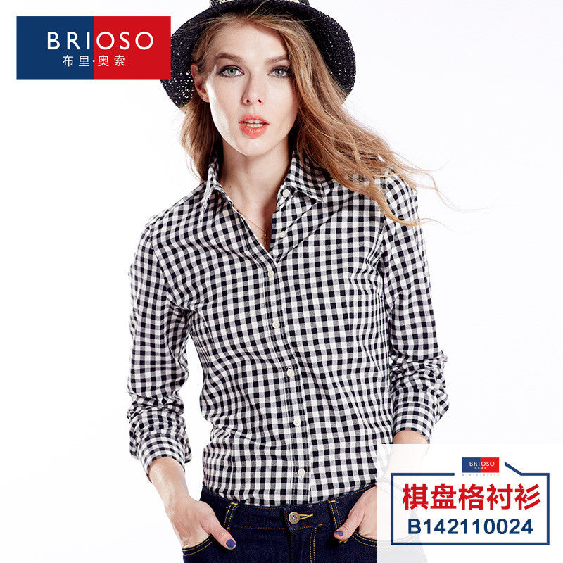 100% cotton long sleeve plaid shirt women tops and blouses office 2017 new fashion Comfort female casual plus large size ladies Deals Blast