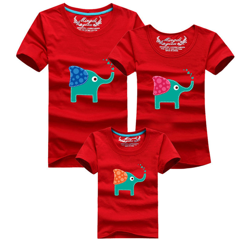 1Piece New Family Look Cartoon elephant T Shirts 8 Colors Summer Family Matching Clothes Father & Mother & Kids Cartoon Outfits Deals Blast