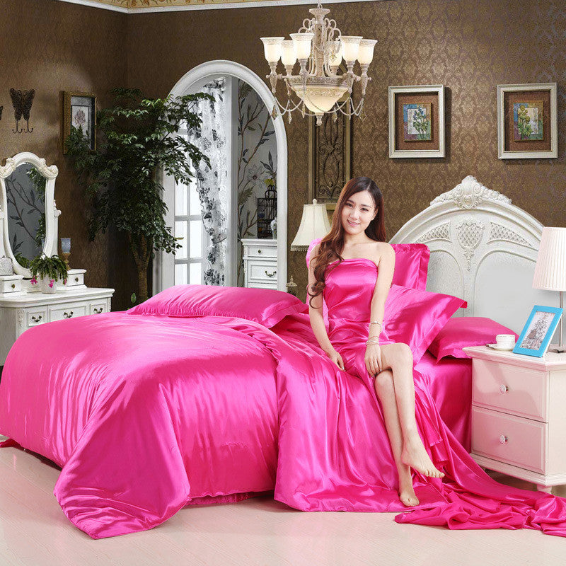 2016 Bedding-set 3/4pcs Super King Size Tencel Silk Bedding Sets Bed Sheets Duvet Cover Bedclothes Linen Bedspread No Comforter Deals Blast