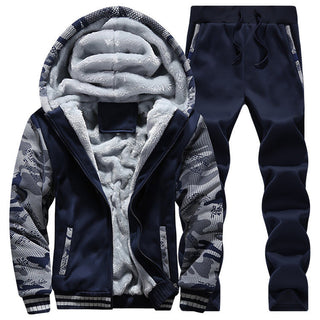 New Winter Mens Sweat Suits Brand Mens Tracksuit Sets Fleece Zipper Hooded Jacket + Pants Sporting Suit Camouflage Sleeve Hoody Deals Blast