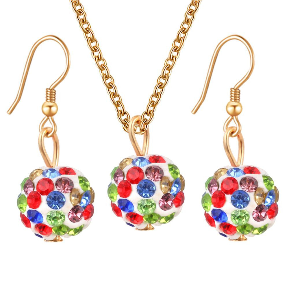 Deals Blast: 5 Colors Candy Crystal Ball Necklace Earrings Women Gift Jewelry Sets Wedding Jewelry Set For Party Dresses parure bijoux femme Deals Blast