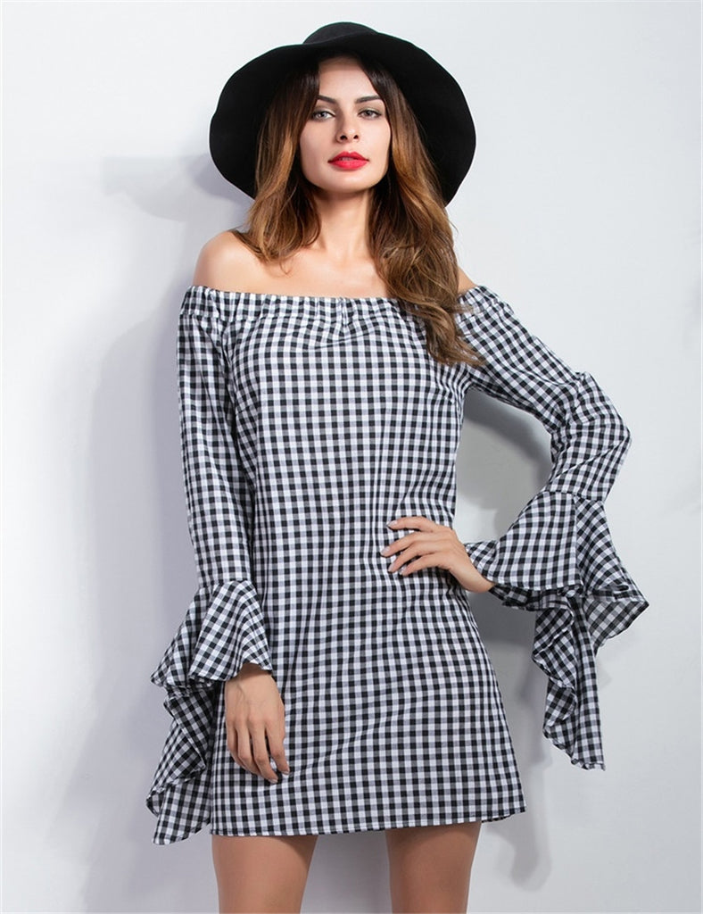 2016 Autumn Fashion Long Sleeve Dresses Sexy Off Shoulder Irregular Party Dresses Women Dress Lady Plaid Vestidos Plus size S-XL - Deals Blast