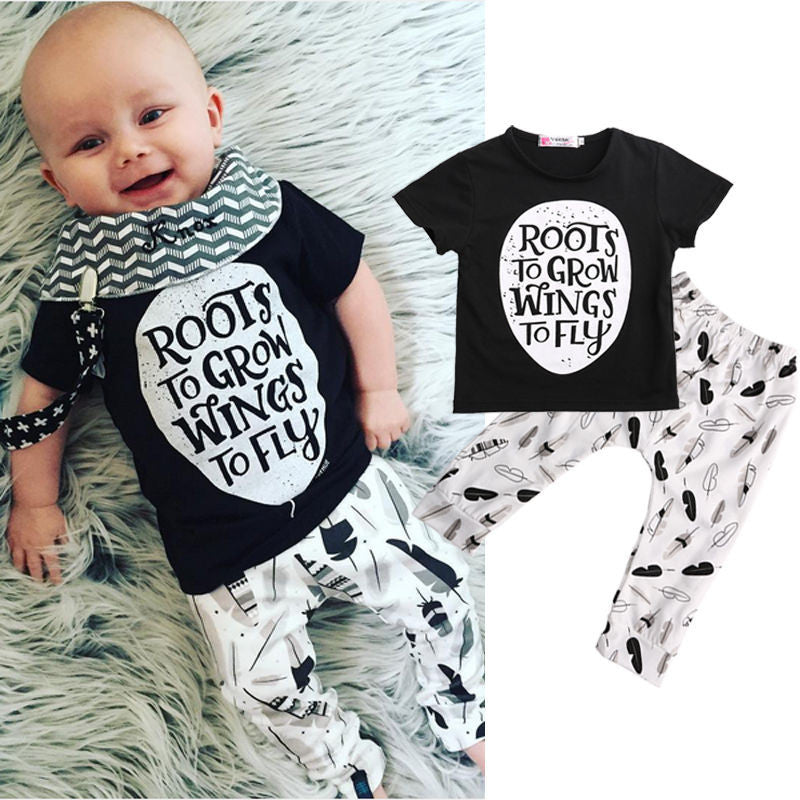 2016 New Casual Baby Boys Girls Clothes Set Summer Short Sleeve Tops Pants 2pcs Outfits - Deals Blast