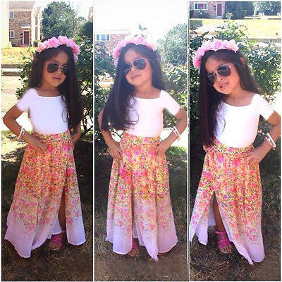 2016 New Fashion Cute Baby Girls Clothes Set Summer short Sleeve T Shirt Top and Floral Skirt 2PCS Little Girls Outfit Set Deals Blast