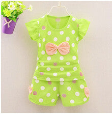 2016 Infant Clothes Toddler Children Summer Baby Girls Clothing Sets Stripe Dots 2pcs Bow Clothes Sets Girls Summer Set Deals Blast