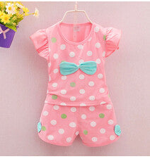 2016 Infant Clothes Toddler Children Summer Baby Girls Clothing Sets Stripe Dots 2pcs Bow Clothes Sets Girls Summer Set - Deals Blast
