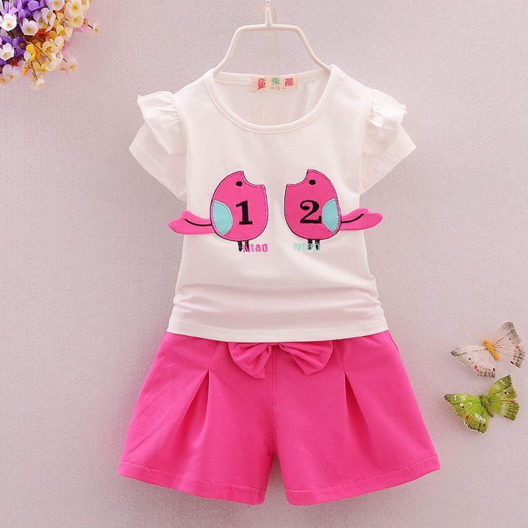 2016 Summer new 1-4 y children girls clothing set with mouse print nice cotton short-sleeve high quality baby clothes - Deals Blast