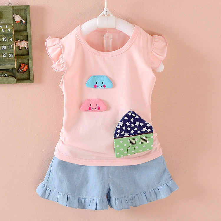 2016 Summer new 1-4 y children girls clothing set with mouse print nice cotton short-sleeve high quality baby clothes Deals Blast