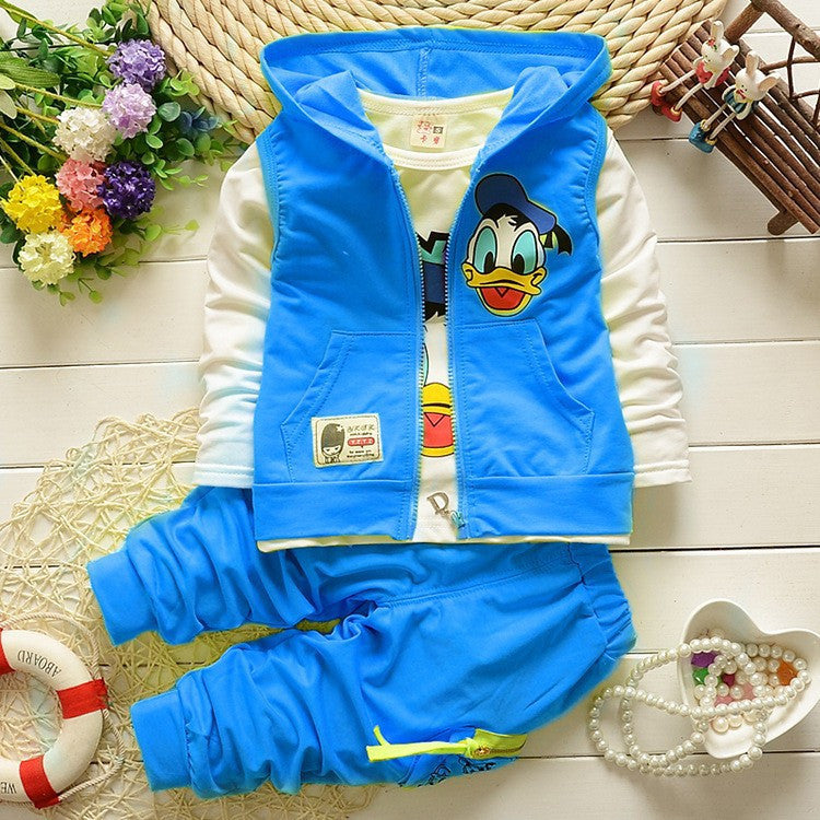 2016 Boys Clothes Suits Cartoon Donald Duck Baby Kids Boys Outerwear Hoodie Jacket Baby Sport Boys Clothing Sets Suits Deals Blast