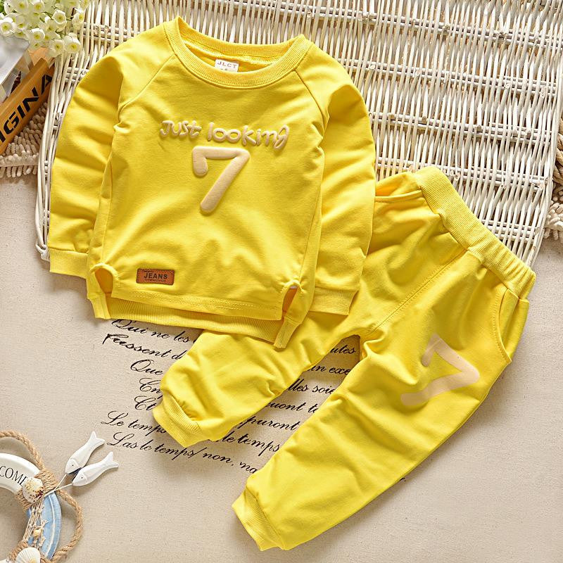 2016 Spring Baby Boys Clothing set Casual Sport Letters Tracksuit Infant Toddler Girls Clothes Top T shirt + Pants Deals Blast