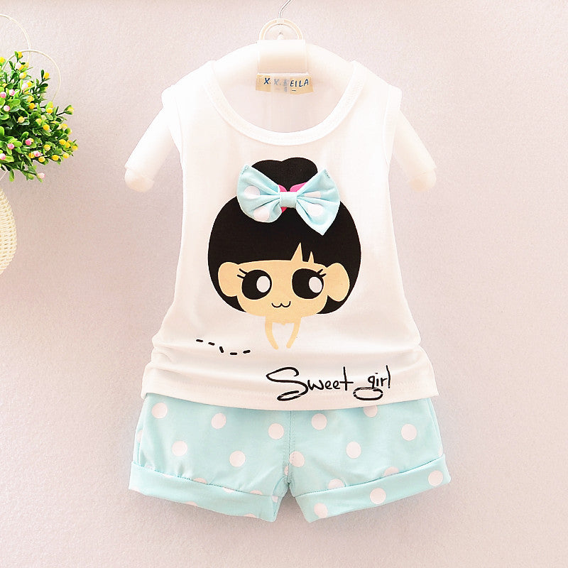 0-4 Age Baby Girls Clothing Sets Summer Cartoon Girl Bow Vest + Shorts Suit Kids Clothes Girls Toddler Clothing Roupa Infantil - Deals Blast