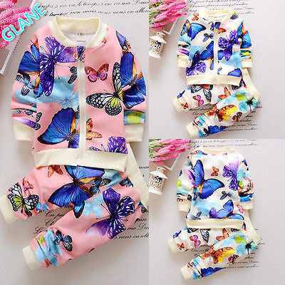2016 Autumn New Flower Baby Girls Toddler Butterfly Coat Cardigan+Pants Oufits Clothes Set girls clothing sets children clothing - Deals Blast